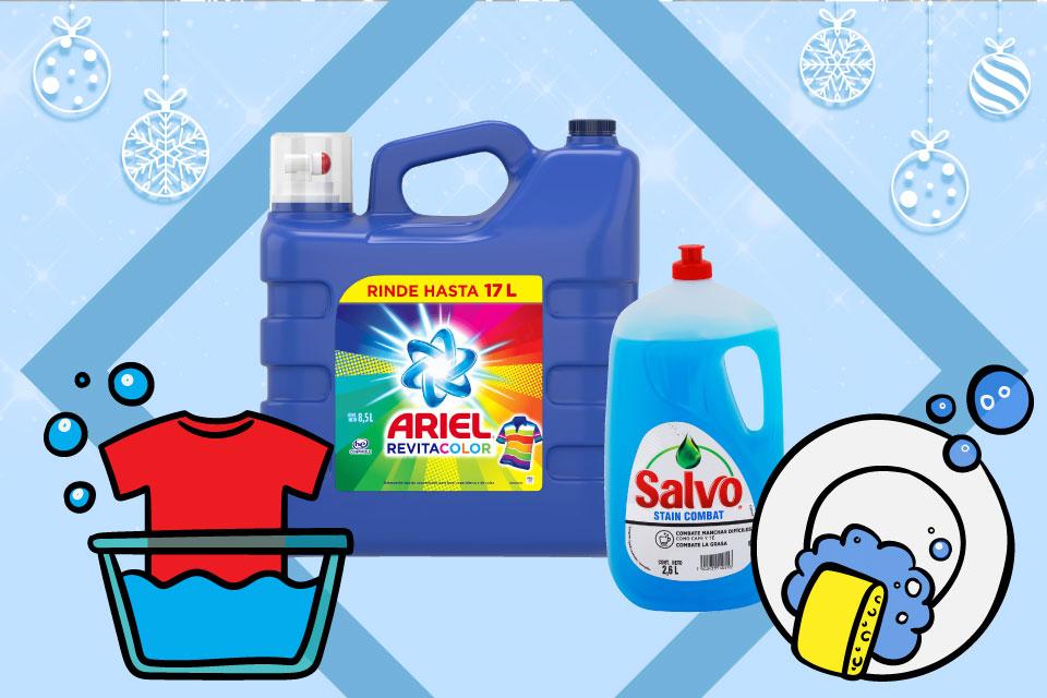Ariel y salvo productos de limpieza