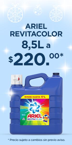 Banner: Ariel Revitacolor 8.5L a $220.00. Precio sujeto a cambio sin previo aviso.