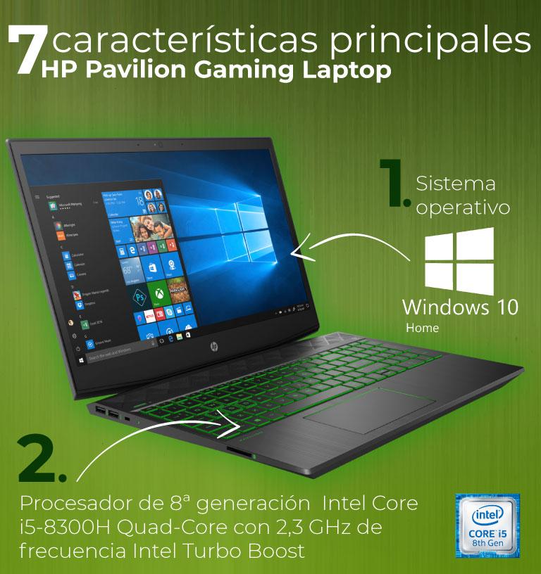 Sistema operativo Windows 10 Home. Procesador de 8ª generación  Intel Core i5-8300H Quad-Core con 2,3 GHz de frecuencia Intel Turbo Boost.