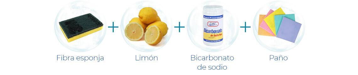 Fibra esponja + Limón + Bicarbonato de sodio + Paño
