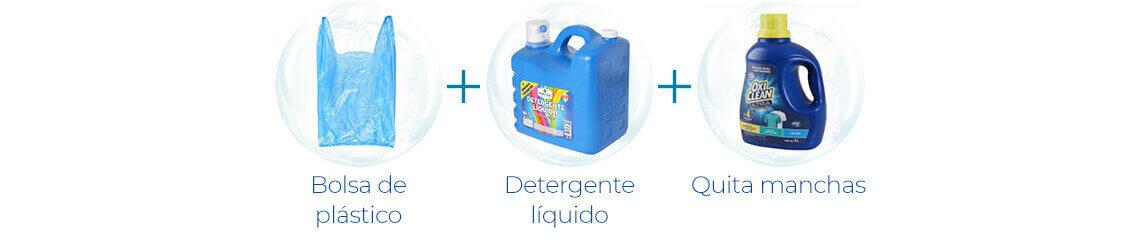Bolsa de plástico + Detergente líquido + Quita manchas