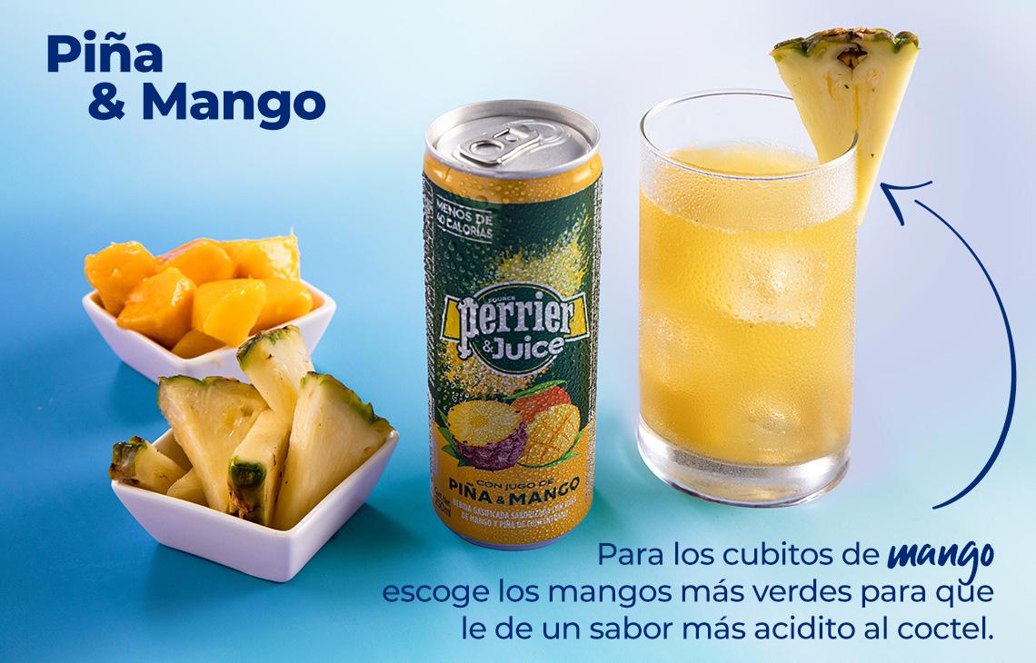 Tip: Para los cubitos de mango, escoge mangos más verdes para que le dé un sabor más acidito al coctel.