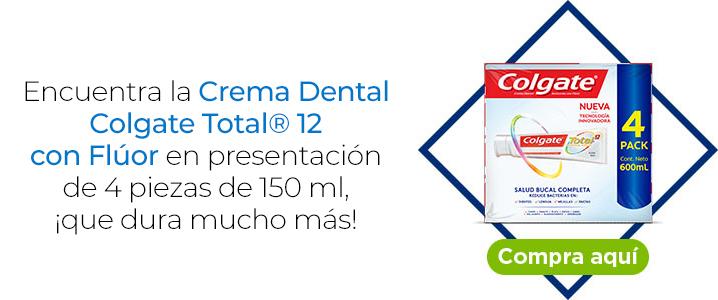 Encuentra la Crema Dental Colgate Total® 12 con Flúor en presentación de 4 piezas de 150 ml, ¡que dura mucho más!