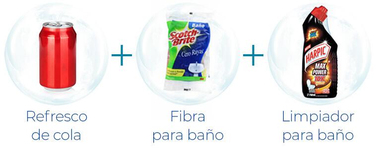 Refresco de cola + fibra de baño + Limpiador para baño