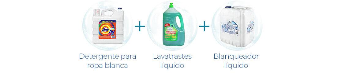 Detergente para ropa blanca + Lavatrastes líquido + Blanqueador líquido