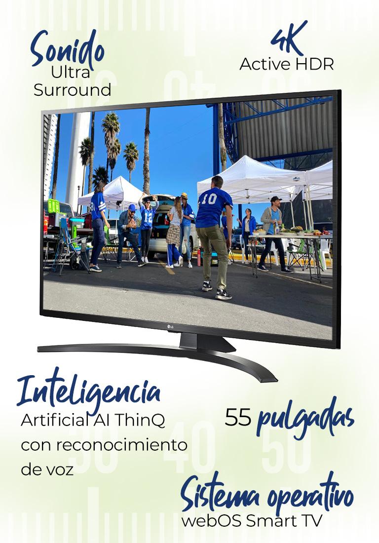 Pantalla LG Mod. 55UM7105PUA · 55 pulgadas · 4K Active HDR · Inteligencia Artificial AI ThinQ con reconocimiento de voz · Sonido Ultra Surround · Sistema operativo webOS Smart TV