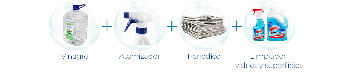 Vinagre + Atomizador + Periódico + Limpiador vidrios y superficies