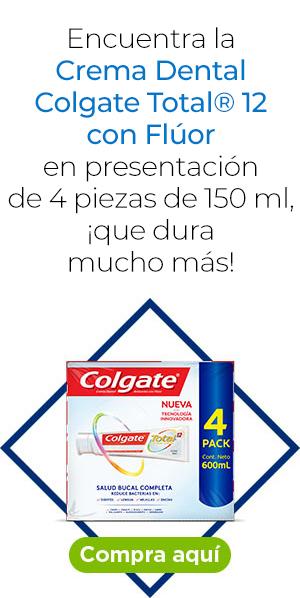 Luce una gran sonrisa. Encuentra la Crema Dental Colgate Total® 12 con Flúor en presentación de 4 piezas de 150 ml, ¡que dura mucho más!