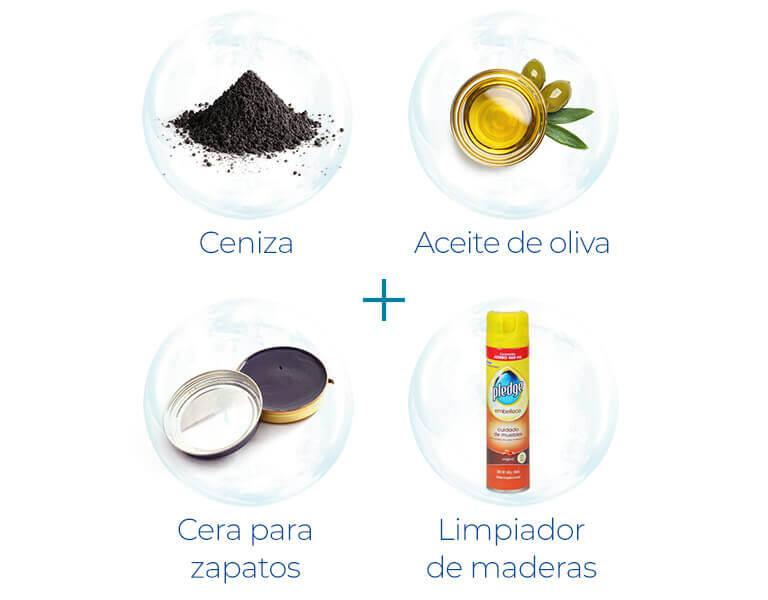 Ceniza + Aceite de oliva + Cera para zapatos + Limpiador de maderas