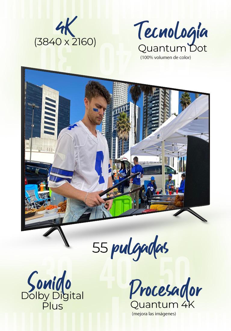 Pantalla Samsung Mod. QN55Q70RAFXZX · 55 pulgadas · 4K (3840 x 2160) · Procesador Quantum 4K (mejora las imágenes) · Tecnología Quantum Dot (100% volumen de color) · Sonido Dolby Digital Plus