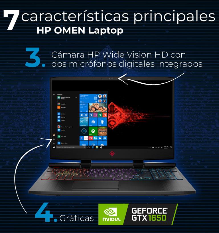 Gráficas NVIDIA GeForce GTX 1650. Cámara HP Wide Vision HD.