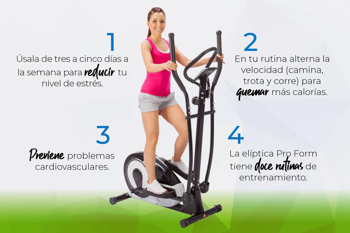 Elíptica, máquina para ejercicio. Gimnasio en casa