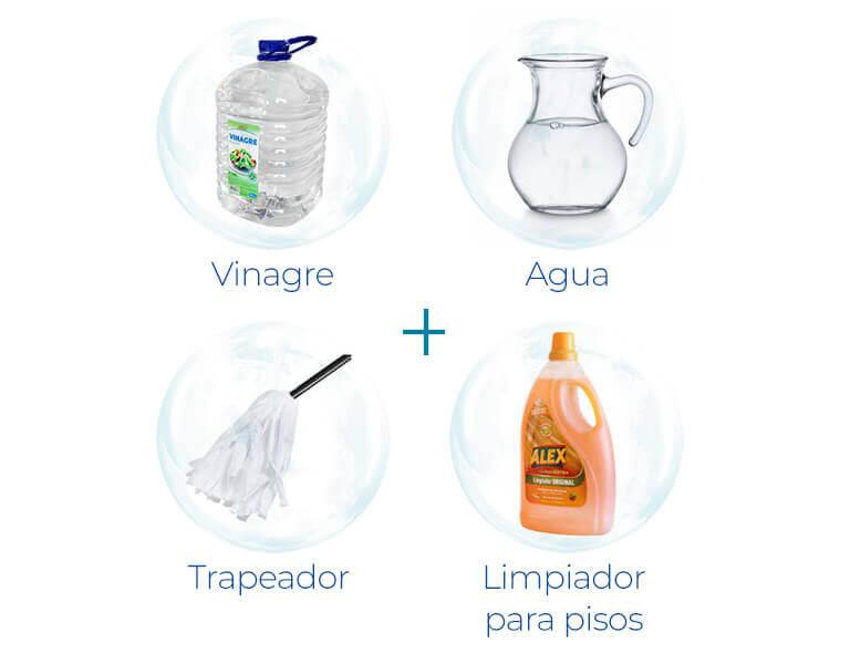 Vinagre + Agua + Trapeador + Limpiador para pisos