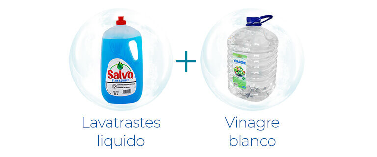 Lava trastes + Vinagre blanco