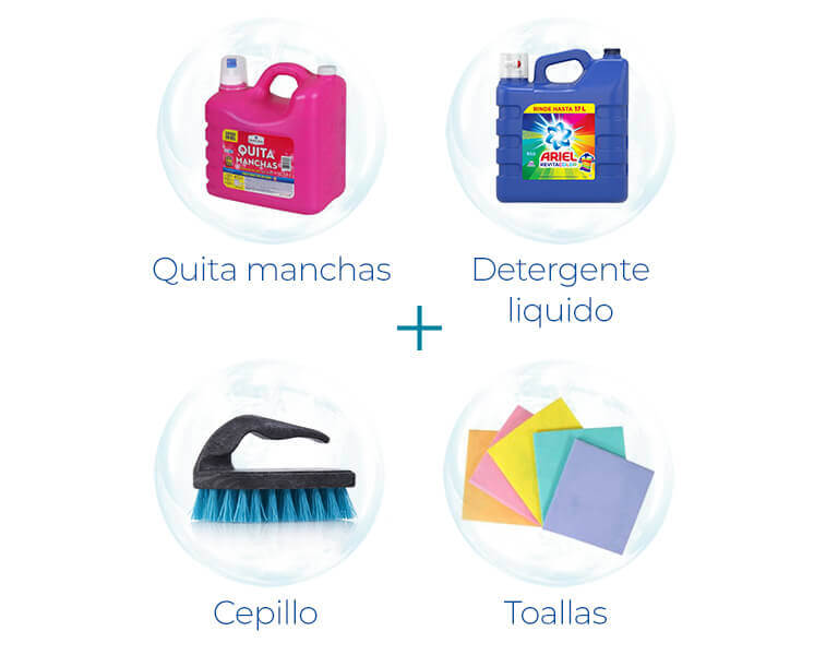 Quita manchas + Detergente líquido + Cepillo + Toallas