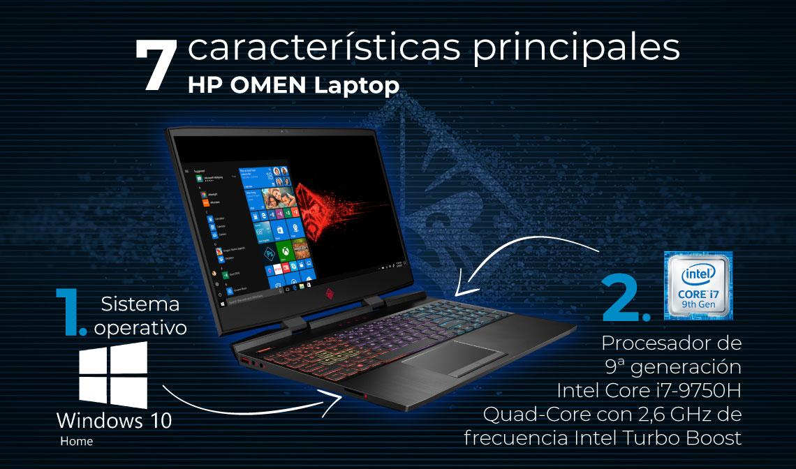 Sistema operativo Windows 10 Home. Procesador Intel Core i7-9750H Quad-Core.