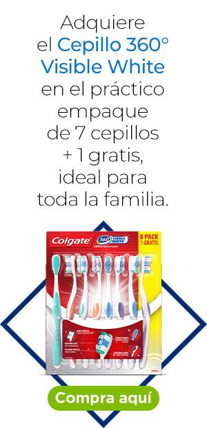Adquiere el Cepillo 360° Visible White en el práctico empaque de 7 cepillos + 1 gratis, ideal para toda la familia.