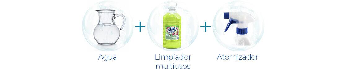 Agua + Limpiador multiusos + Atomizador