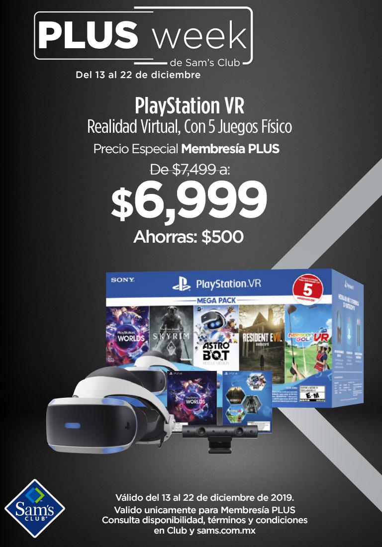 PlayStation VR Realidad Virtual, Con 5 Juegos Físico - Precio Especial Membresía PLUS - $6,999 - Ahorras: $500 - Válido del 13 al 22 de diciembre de 2019. Valido unicamente para Membresía PLUS Consulta disponibilidad, términos y condiciones en Club y sams.com.mx