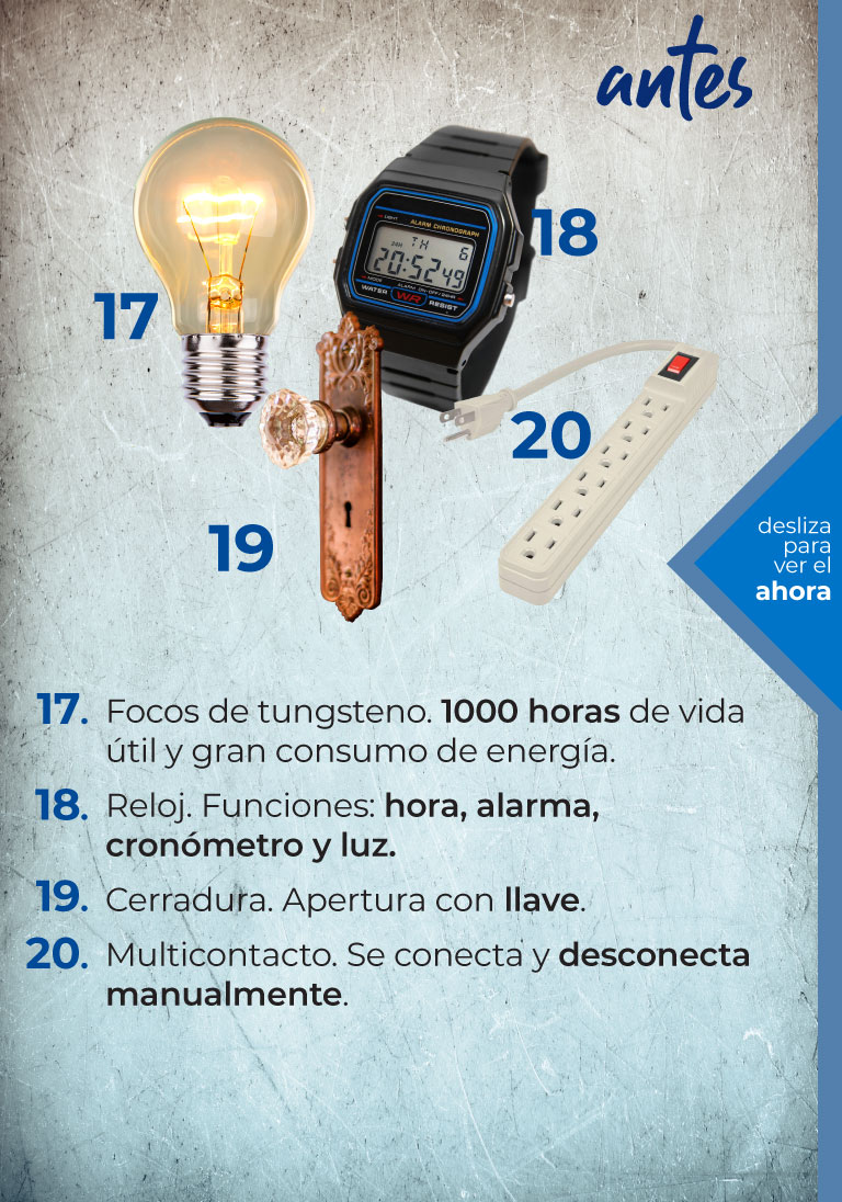 Smarthings. Antes. Focos de tungsteno, reloj, cerradura, multicontacto