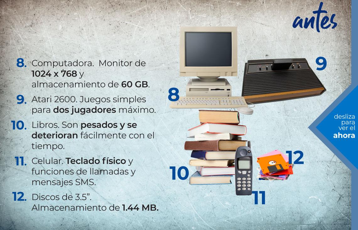 """El reinado de internet. Antes. Computadora, Atari, libros, teléfono celular, discos de 3.5"""""""