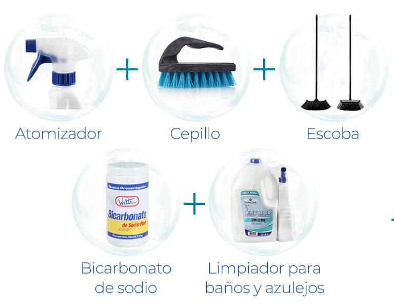 Bicarbonato de sodio + Atomizador + Cepillo + Escoba + Limpiador para baños y azulejos