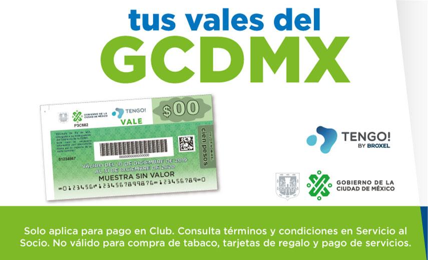 tus vales del GCDMX Solo aplica para pago en Club. Consulta términos y condiciones en Servicio al Socio. No válido para compra de tabaco, tarjetas de regalo y pago de servicios.