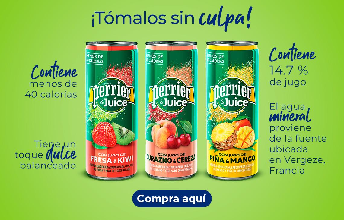 Conoce Perrier Juice ¡Tómalos sin culpa! Contiene menos de 40 calorías Contiene 14.7 % de jugo El agua mineral proviene de la fuente ubicada en Vergeze, Francia. Tiene un toque dulce balanceado Solo en Sam's Club. Empaque: 6 latas de kiwi & fresa, 6 latas de durazno & cereza y 6 latas de piña-mango de 250 ml c/u