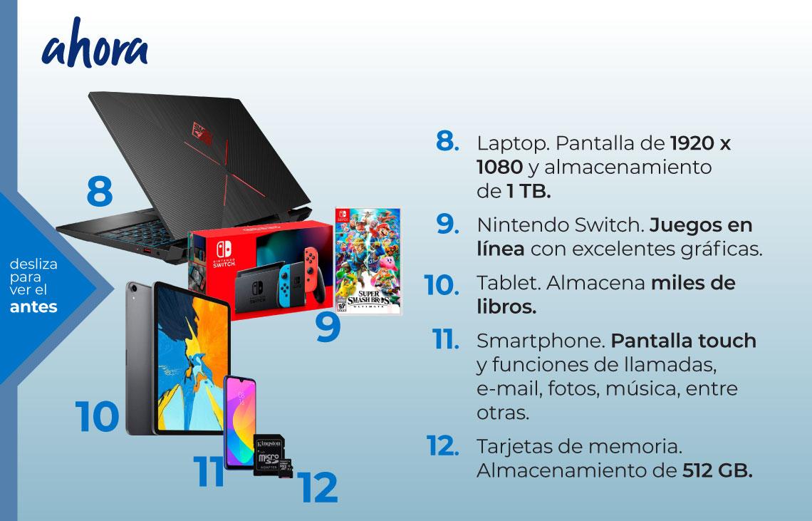 El reinado de internet. Ahora. Laptop, Nintendo Switch, tablet, smartphone, tarjeta de memoria