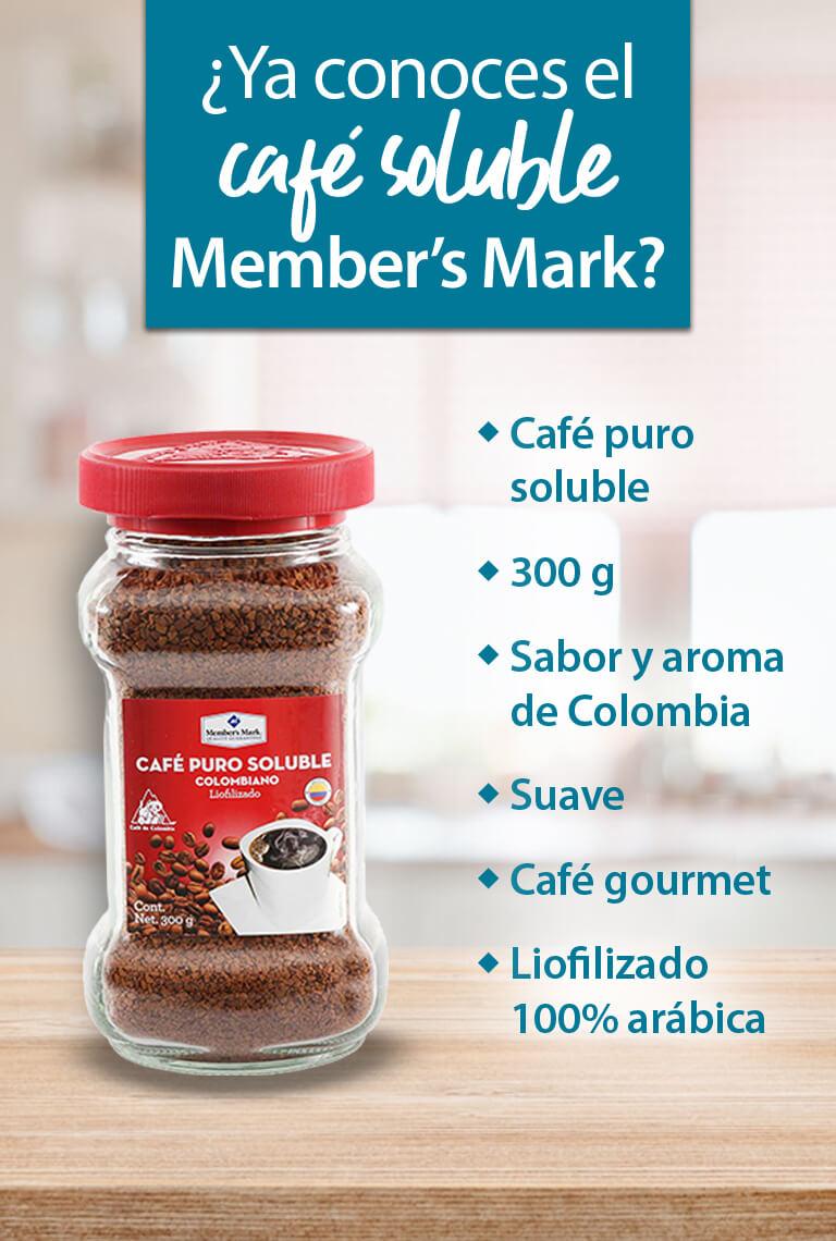 Conoce el café soluble Member's Mark. 300 g, sabor y aroma de Colombia, suave, gourmet, liofilizado 100% arábica. Ideal para la gelatina de café.