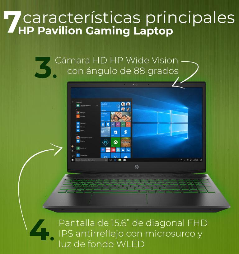"""Cámara HD HP Wide Vision con ángulo de 88 grados. Pantalla de 15.6"""" de diagonal FHD IPS antirreflejo con microsurco y luz de fondo WLED"""