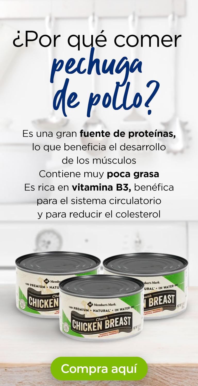 ¿Por qué comer pechuga de pollo? · Es una gran fuente de proteínas, lo que beneficia el desarrollo de los músculos · Contiene muy poca grasa · Es rica en vitamina B3, benéfica para el sistema circulatorio y para reducir el colesterol