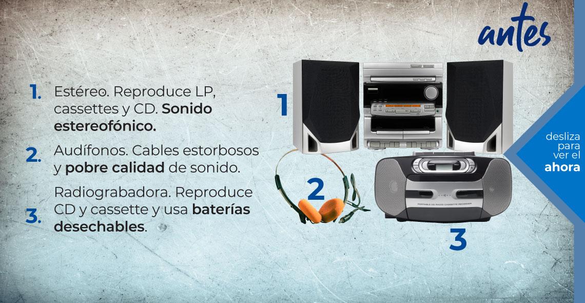 Avances tecnológicos en audio. Antes. Estéreo, audífono, radiograbadora