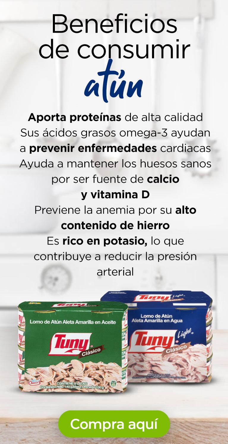 Beneficios consumir atún · Aporta proteínas de alta calidad · Sus ácidos grasos omega-3 ayudan prevenir enfermedades cardiacas · Ayuda a mantener los huesos sanos por ser fuente de calcio y vitamina D · Previene la anemia por su alto contenido de hierro · Es rico en potasio, lo que contribuye a reducir la presión arterial