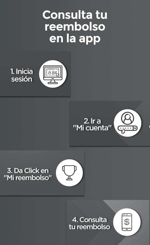 """Consulta tu reembolso en la app Calcula y conoce tu reembolso anual de manera fácil, te decimos cómo:   Inicia sesión Ir a """"Mi cuenta"""" Da click en """"Mi reembolso"""" Consulta tu reembolso"""