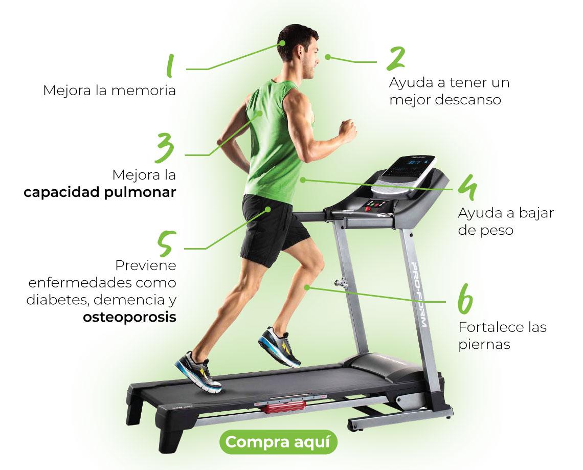 Ayuda a bajar de peso. Fortalece las piernas. Mejora la capacidad pulmonar. Previene enfermedades como diabetes, demencia y osteoporosis. Ayuda a tener un mejor descanso. Mejora la memoria