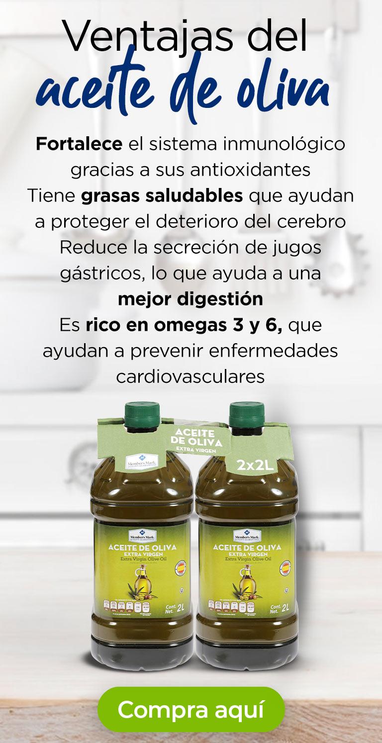 Ventajas del aceite de oliva · Fortalece el sistema inmunológico gracias a sus antioxidantes · Tiene grasas saludables que ayudan a proteger el deterioro del cerebro · Reduce la secreción de jugos gástricos, lo que ayuda a una mejor digestión · Es rico en omegas 3 y 6, que ayudan a prevenir enfermedades cardiovasculares