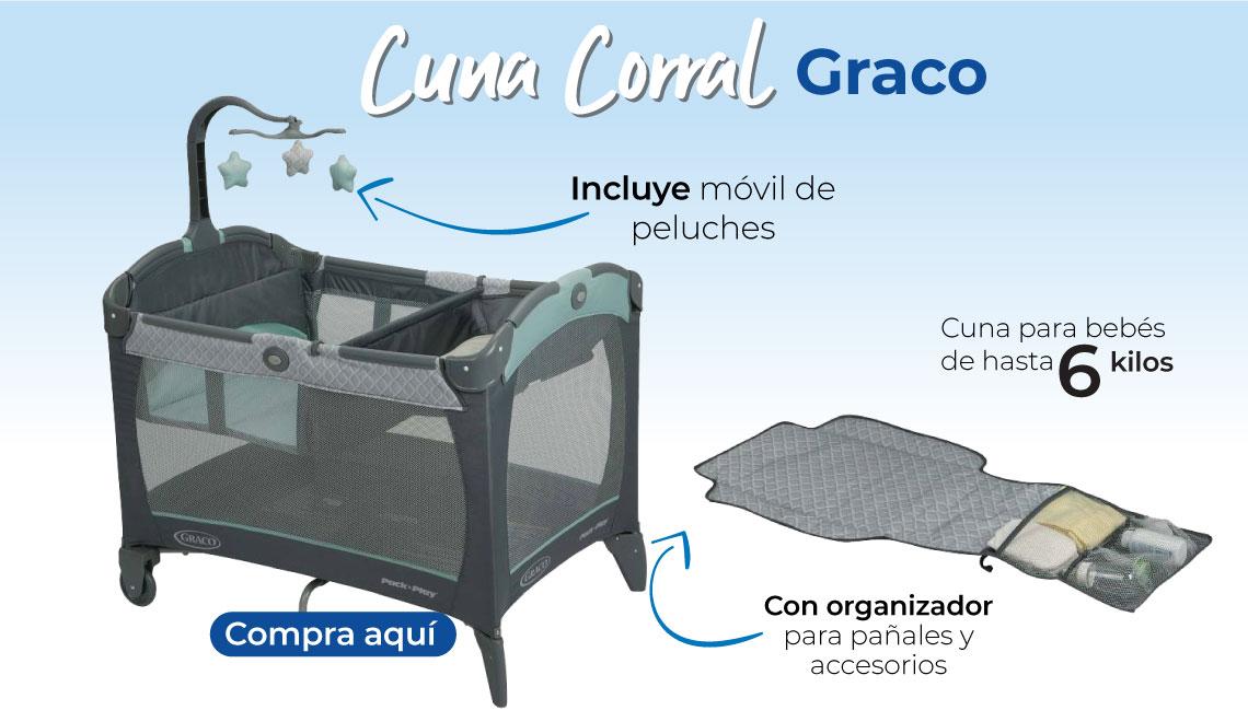 Cuna Corral Graco.  Cuna para niños de hasta 6 kilos Con organizador para pañales y accesorios Incluye móvil de peluches