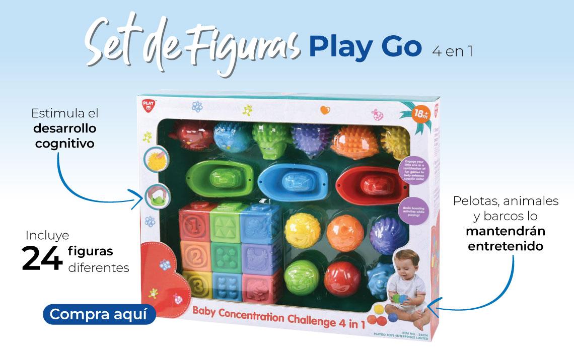 Set de Figuras Play Go 4 en 1.  Incluye 24 figuras diferentes Pelotas, animales y barcos lo mantendrán entretenido Estimula el desarrollo cognitivo