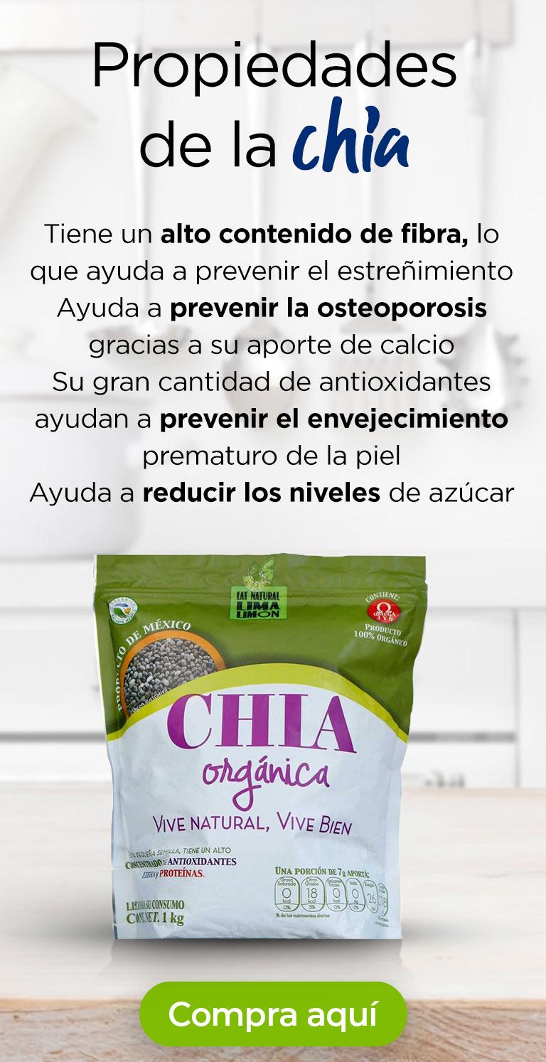 Propiedades de la chía · Tiene un alto contenido de fibra, lo que ayuda a prevenir el estreñimiento · Ayuda a prevenir la osteoporosis gracias a su aporte de calcio · Su gran cantidad de antioxidantes ayudan a prevenir el envejecimiento prematuro de la piel · Ayuda a reducir los niveles de azúcar