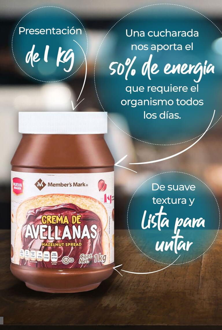 el azúcar que contiene la crema de avellana de Member's Mark constituye al 50% de energía que requiere el organismo todos los días. Presentación especial de 1 kg De suave textura y lista para untar