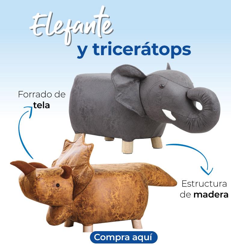 Elefante y triceráptops. Forrado de tela. Estructura de madera
