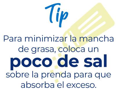 Tip: Para minimizar la mancha de grasa, coloca un poco de sal sobre la prenda para que absorba el exceso.