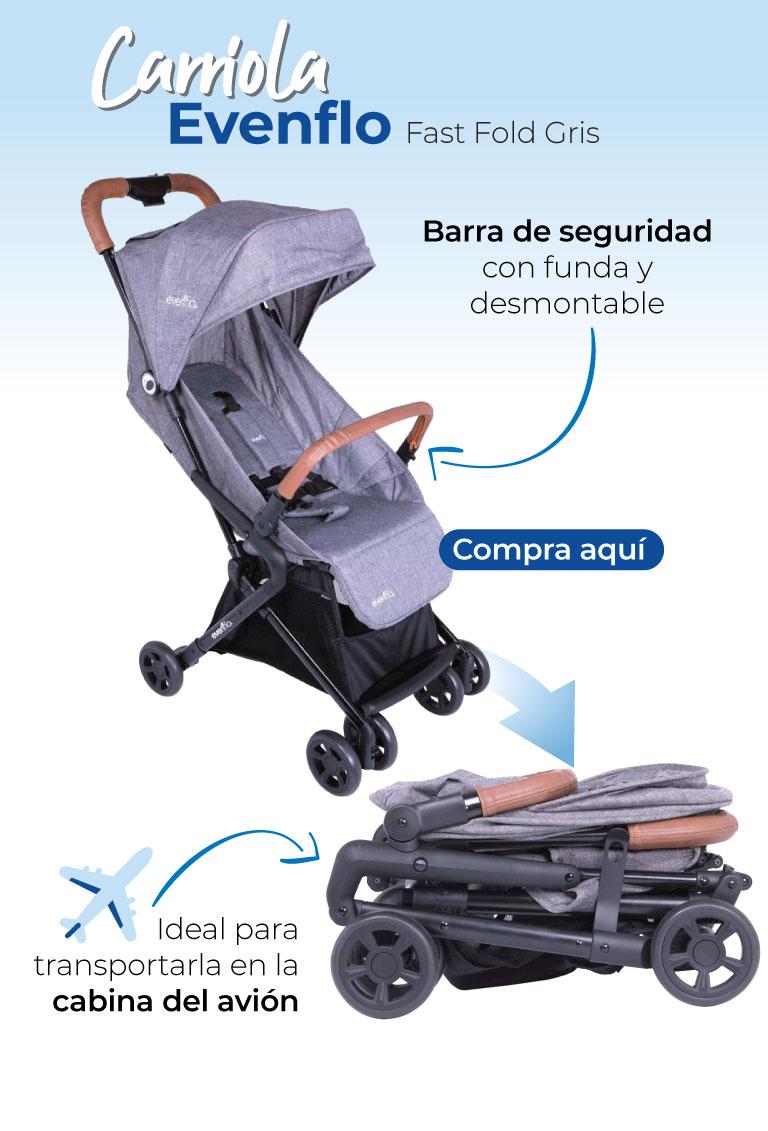 Carriola Evenflo Fast Fold Gris. Ideal para transportarla en la cabina del avión Barra de seguridad con funda y desmontable