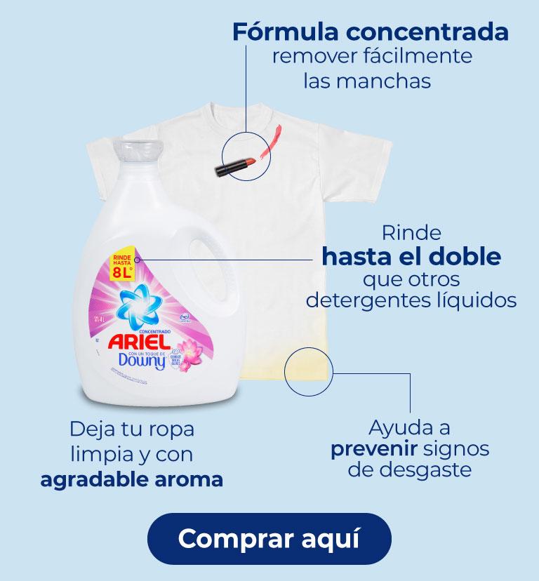 Ariel toque Downy. Deja tu ropa limpia y con agradable aroma. Rinde hasta el doble que otros detergentes líquidos. Ayuda a prevenir signos de desgaste.