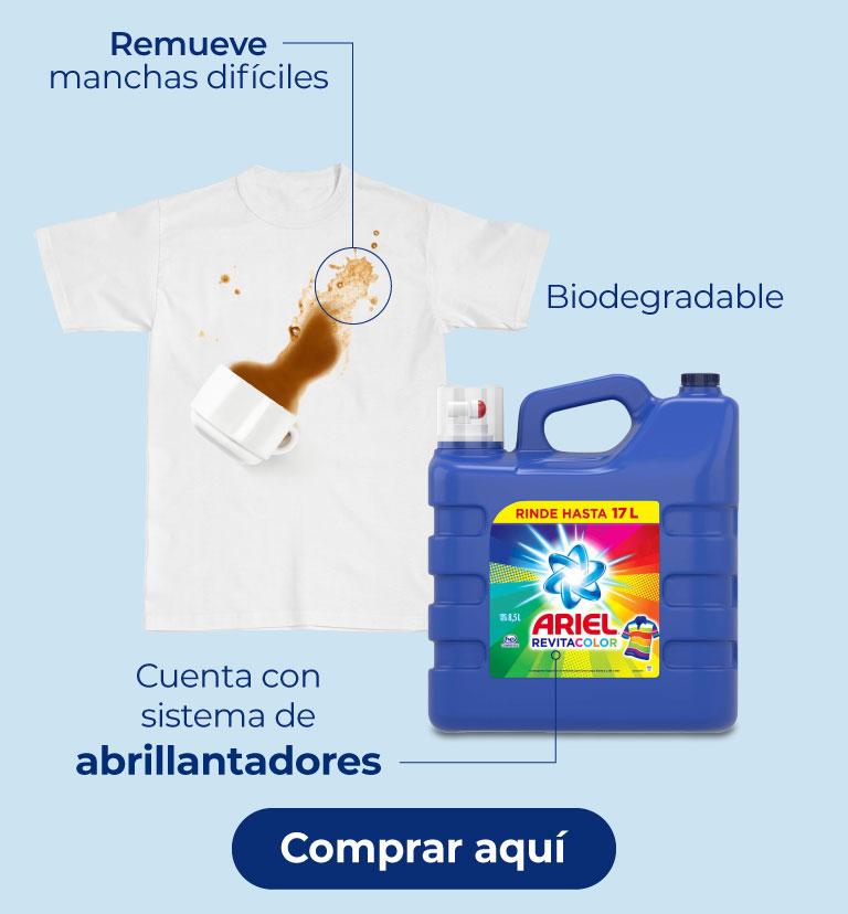 Ariel revitacolor. Cuenta con sistema de abrillantadores. Biodegradable. Remueve manchas difíciles.