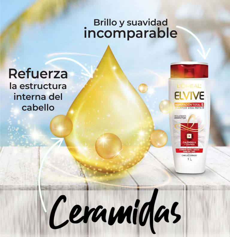 Ceramidas. Refuerza la estructura interna del cabello. Brillo y suavidad incomparable.