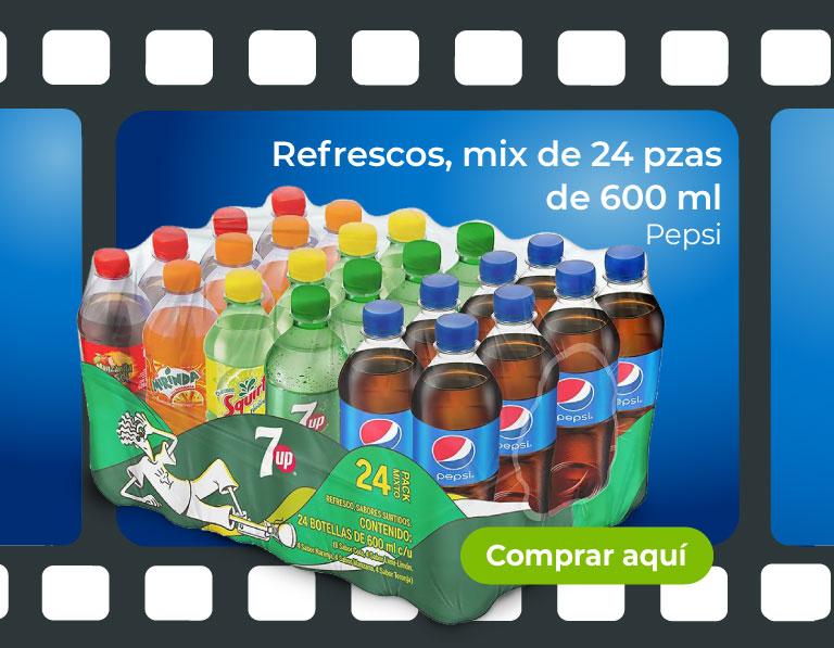 Refrescos, mix de 24 pzas de 600 ml. Pepsi