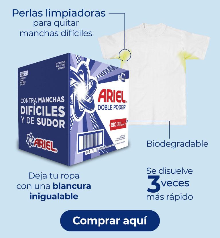 ariel en polvo doble poder. Biodegradable Se disuelve 3 veces más rápido Deja tu ropa con una blancura inigualable