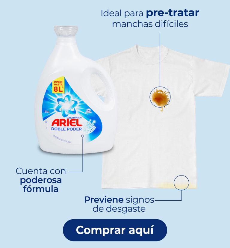 Ariel líquido doble poder.  Cuenta con poderosa fórmula. Previene signos de desgaste. Ideal para pre-tratar manchas difíciles.